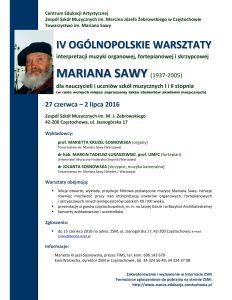 IV Warsztaty Sawy Cz-wa 2016 AFISZ-1