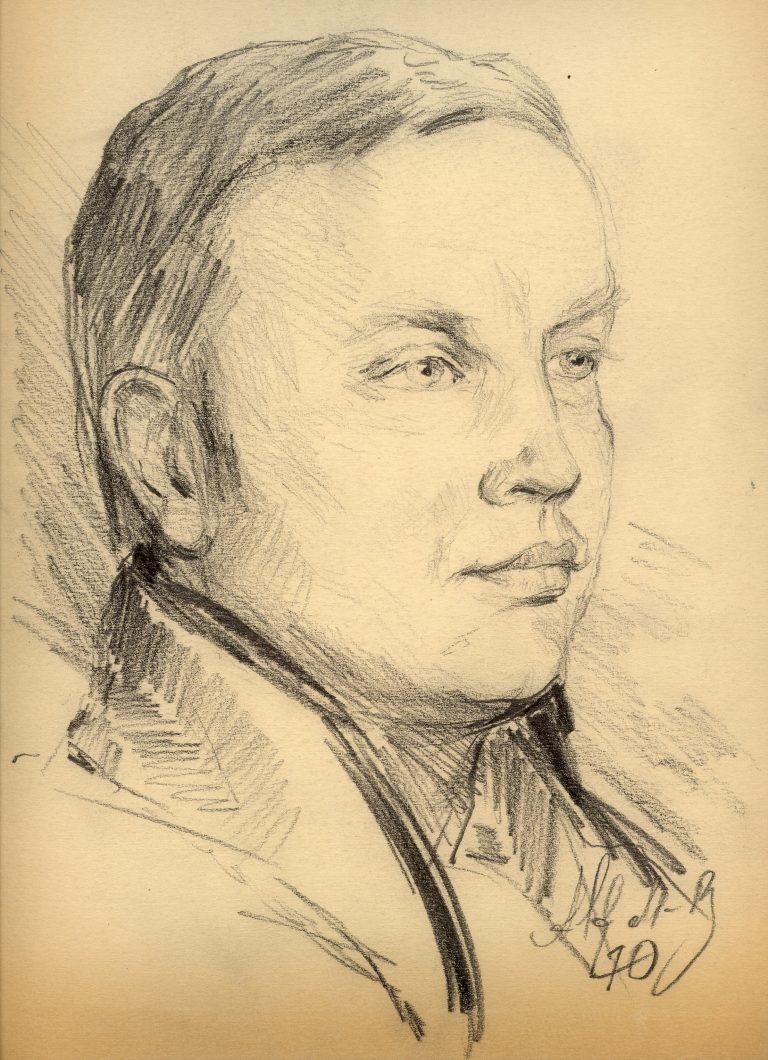 Marian Sawa portret autorstwa A. Medom-Bobrowskiego